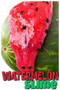Nothing says summer like a big, juicy watermelon! Thiswatermelon slime is an delightful summer activity for kids! Whether you are planningwatermelon activities for awatermelon theme, NationalWatermelon Day on August 3rd, along with The Watermelon Seed book, or just as really funslime recipe for kids. These waterelon activities for preschoolers, toddlers, kindergarnters, grade 1, and grade 2 students is sure to be a hit!