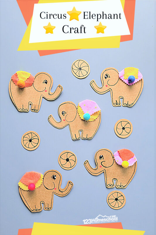 Whether you are having a funcircus theme, a carnival theme, or are just looking for a cuteelephant craft - you will love these cute decorated circus elephatn crafts for kids. Use the elephant tempalte to create and decoarte thiscircus craft. Thiscircus crafts for kidsis perfect for toddler, preschool, pre-k, kindergarten, first grade, and 2nd graders too. Use it to celebrate World Elephant Day on August 12th, World Circus Day on April 17th, or along with your favorite elephant book.
