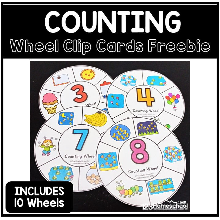 Cute, free printablecounting wheels are a fun way to practice counting to 10! Count and clip activity for preschool and kindergarten!