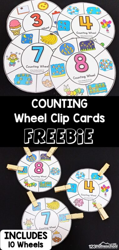 These super cute, free printablecounting wheels are a fun way for children to practice counting to 10! Eachcounting printable features a different number forcounting 1 to 10. Toddler, preschool, pre-k, and kindergarten age kids will count the bojects in each section and clip them if they belong. This is such a fun, LOW PREP, and hands-oncounting activity! Simply printthecounting to 10 activity and you are ready to play and learn!