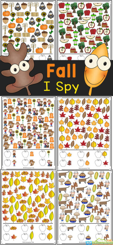 Looking for a fun fall activity that is no-prep because it uses free printable fall worksheets? This super cute Fall I Spy is a great way to have fun, work on visual discrimination, and work on counting too. This I spy fall printable is great for preschool, pre-k, kindergarten and even first grade and 2nd grdaers. Simply print free fall printables and you are ready to play and learn!