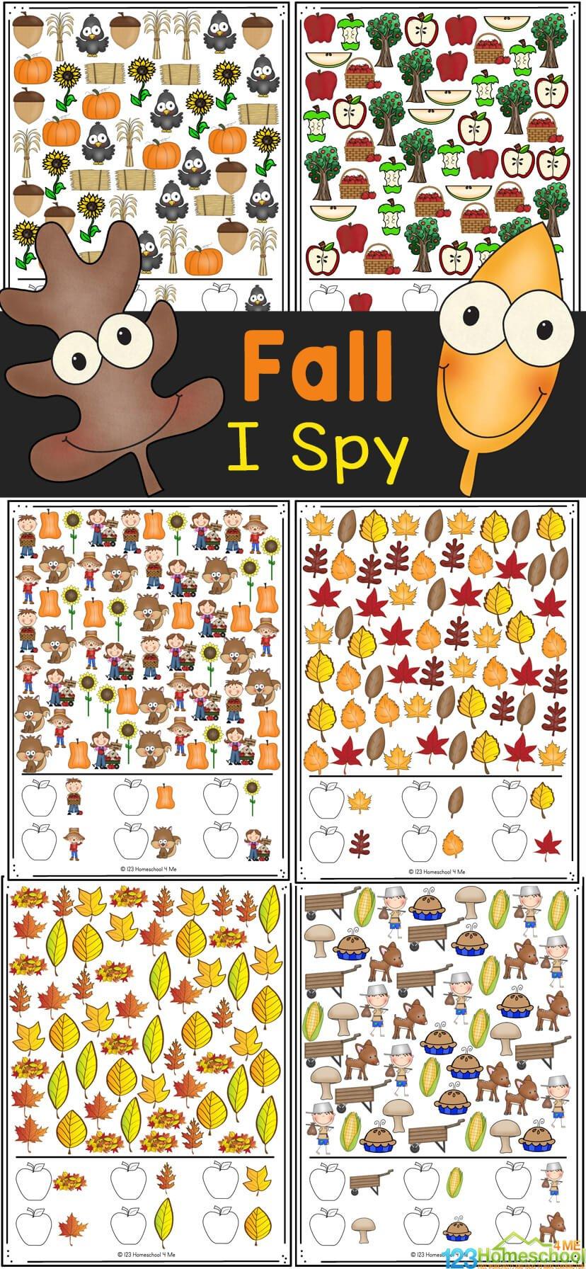 Fall I Spy Worksheets 123 Homeschool 4 Me