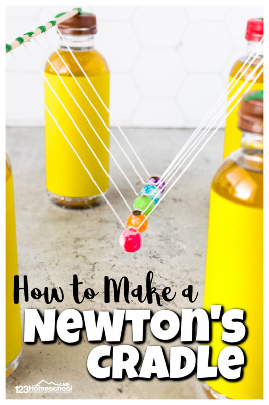 Learn how energy is transfered from one object to another in thisnewton's cradle activity. For this physics experiments for kids, you will make a newton's pendulum to explore how what happens when two objects colide. This newton cradle projectis fun for all ages from preschool, pre-k, kindergarten, first grade, 2nd grade, 3rd grade, and 4th grade students. With a few simple materials I will show you how to make a newton's cradle; this is a SUPER cool andeasy science experiment.