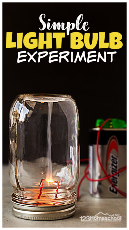 Teach students aboutelectricity for kids with this simple and amazinglight bulb experiment! Thislight bulb science project only requires a couple simple materials and you can make an incandescent light bulb just like Thomas Edison did! Thiselectricity experiments for kids is fun for kids of all ages from kindergarten, first grade, 2nd grade, 3rd grade, 4th grade, 5th grade, 6th grade, 7th grade, and 8th graders too.
