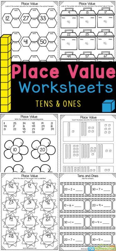 These fun, free printable place value worksheets are great for young children to understand how numbers work. These tens and ones worksheets are handy, NO PREP, math printables that allow pre-k, kindergarten, and first graders enjoy learning about place value while concentrating on learning about tens and ones. Simply print tens and ones worksheets pdf and you are ready to play and learn!