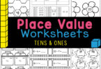 Handy place value worksheets are great for learning the value of tens and ones with free math printables for pre-k and kindergarten.