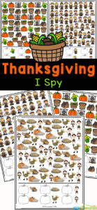 Looking for a fun thanskgiving activity that is no-prep because it uses free printable thanksgiving worksheets? This super cute Thanksgiving I Spy is a great way to have fun, work on visual discrimination, and work on counting too. This I spy thanksgiving printable is great for preschool, pre-k, kindergarten and even first grade and 2nd grdaers. Simply print free thanksgiving printables and you are ready to play and learn!