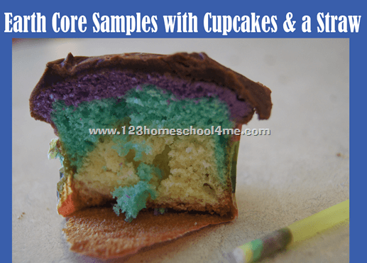 earth core sample activity with a cupcake