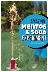 Even your reluctant learner will get excited to try thiseasy science experimentwhere you will product a HUGE erruption! In this classicMentos and Soda Experiment you will mix a couple simple materials to produce a chemical reaction. Thismentos in Coke project is a MUST TRY for kids of all ages from preschool, pre-k, kindergarten, first grade, 2nd grade, 3rd grade, and 4th graders too. Even adults love trying thecoke and mentos experiment. Don't worry, we'll give you thediet coke and mentos experiment resultsexplained so you get all the learning out of this funsummer activity for kids!