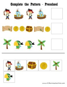 pirate cut and paste pattern worksheets