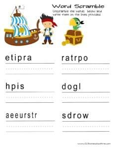 pirate word scrambe worksheet