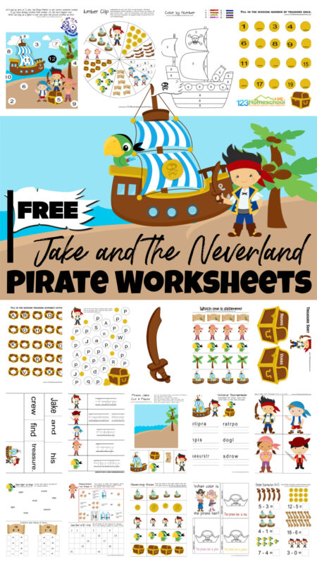 If you have a Jake and the Neverland Pirates fan they are going to love learning with thesejake and the neverland pirates printables free. These pirate worksheets include a variety of early learning skills such as letters, numbers, patterns, counting and more. Using preschool worksheets for toddler, pre-k, kindergarten, and first grade makes learning FUN! Simply print the cutejake and the neverland pirates printablesand you are ready to go!