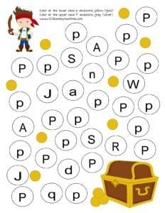 treasure letter find worksheet