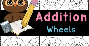 Addition wheels are a fun way to practice addition within 20 using handy, no prep addition math worksheets with kindergarten and grade 1.