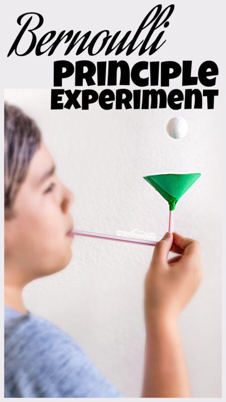 This simplebernoulli experimentwill allow kids of all ages to understand how faster air meas less pressure and allows an object to fly.With just a piece of paper and straw children can make a ping pong ball float to understand aboutair pressure for kids. Try thisBernoulli principle experiment with preschool, pre-k, kindergarten, first grade, 2nd grade, 3rd grade, 4th grade, 5th grade, and 6th graders too. Try this fun physics experiment in just 5-10 minutes for an easyscience experiment for kids!