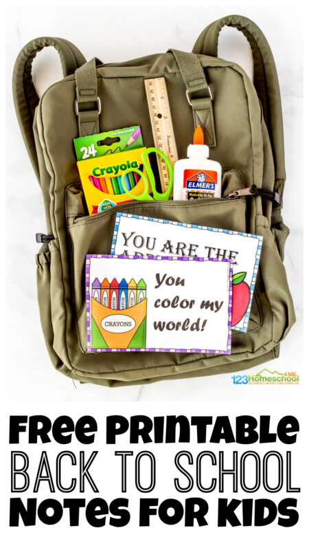 Are you ready for the first day back to school? I always try to make it special for my kids and let them know I am thinking of them. From special breakfasts, treats in theri lunch, and back to school notes - my kids are ready. Whether you homeschool or send your kids to traditional classrooms, using first day of school notes makes it special. Simply print back to school free printables and you are ready to send your kids back to school with a fun, encouraging note!