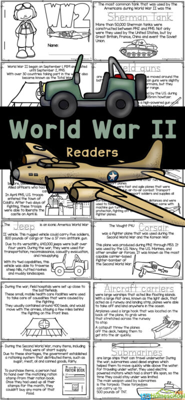 Whether you are diving into a history lessons for kids about the first world war in your classroom, a world war one unit in your homeschool, or area parent learning aboutworld war 2 for kids - this WW2 for kids readers is filled with interesting facts about World War Two for kids for children to read, color, and learn! Use this free printable World War 2 worksheet is handy to use with preschool, pre-k, kindergarten, first grade, 2nd grade, 3rd grade, 4th grade, and 5th grade students. Simply print the World war 2 coloring pages and you are ready to read, colour, and learn!