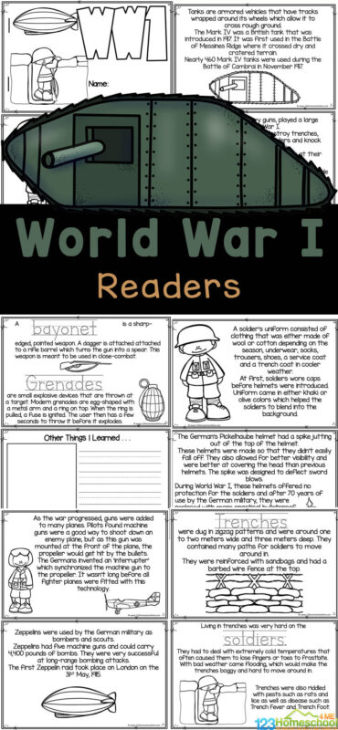 Learn about World War 1 for kids with this free printable reader for your history lessons. WW1 for kids readers are filled with facts!