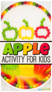 Amaze your kids with this colorfulapple scienceproject! Thisapple experimentis quick, easy, and the perfectapple activity for kidsof all ages from toddler, preschool, pre-k, kindergarten, and first graders. All you need are a 2 simple materials for thisapple science experiment that is sure to delight and teach yougn children. Use thisapple activities for your upcomingapple theme preschool or as an engagingactivities for September.