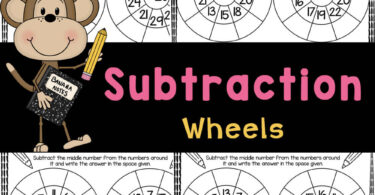 Subtraction wheels are a fun way to practice how to subtract 1-20 with elementary students using handy, no prep subtracting math worksheets.