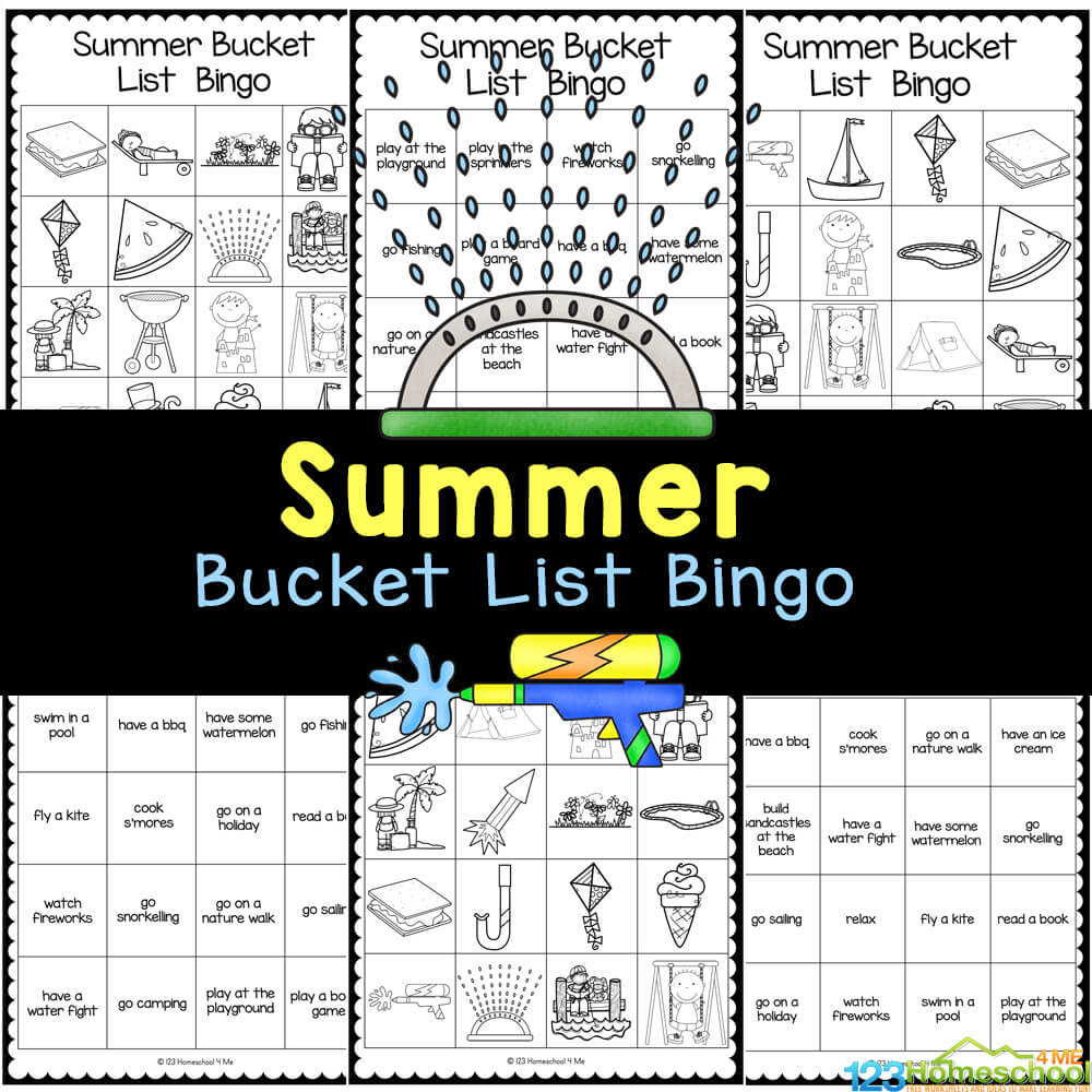 Free Printable Summer Bucket List Bingo