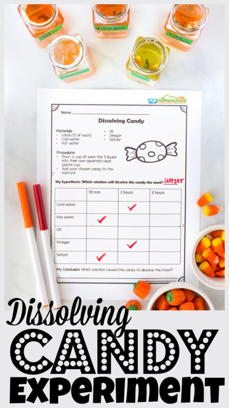 Are you looking for a fun AND educationalfall activity for kids? These pumpkin science experiments are quick, easy, and engaging for kids of all ages. For thishalloween science all you need are a few common liquids, candy, and ourdissolving candy experiment worksheet. Thiscandy science is perfect for preschool, pre-k, kindergarten, first grade, 2nd grade, and 3rd graders too. Simply printhalloween science worksheet and you are ready to play and learn!