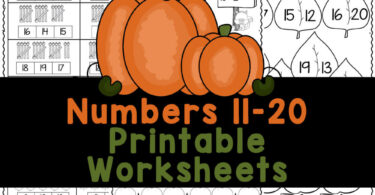 Super cute FALL number practice sheets. These free printablenumbers 11-20 worksheetsare filled with fun pumpkins perfect for Autumn.