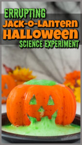 You've got to try this outrageously fun errupting Jack-o-Lanternpumpkin volcano project! Kids will go nuts seeing the halloween science experiments errupt out of the carved pumpkin face! Using pumpkin activitiesto teachpumpkin science is a great way to get kids excited about science and learning! I highly recommend thesepumpkin science experimentswith preschool, pre-k, kindergarten, first grade, 2nd grade, and 3rd graders too.