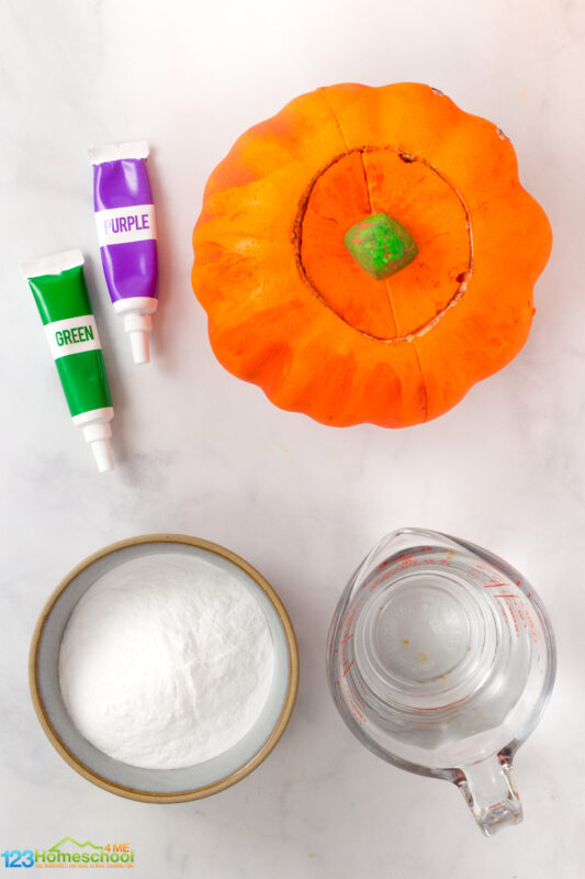"""pumpkin (s) - real or artificial, any size! Carving knife to cut out top, eyes, nose, and yes. Baking soda Vinegar Optional: Dish soap Food coloring Plate or tray to catch the """"lava"""""""