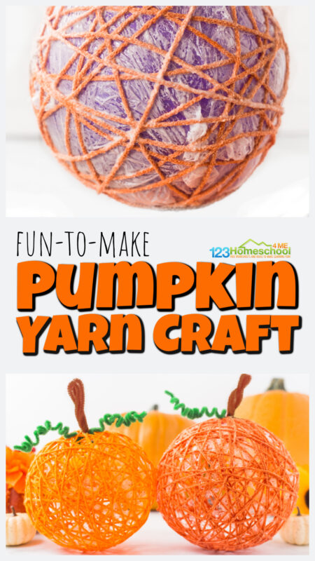 Cute yarn pumpkins are a fun-to-make pumpkin arts and crafts to try in October with a technique using a balloon, orange yarn, and glue.