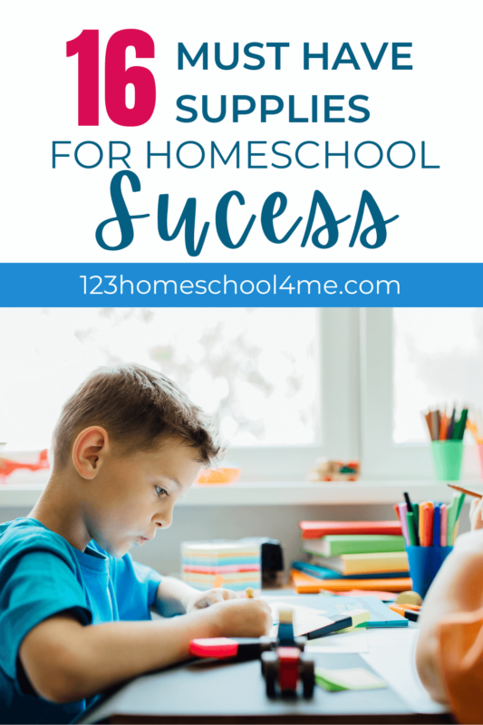 It can be challenging to find the right homeschool supplies. With so many options out there, how do you know what you need? We have created this list of 16 must-have homeschool supplies to help your family succeed in their homeschool endeavors.