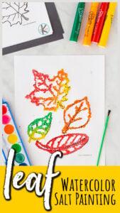 leaf watercolor salt painting