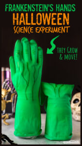 Looking for a not too scary,spooky science experiment for October? ThisFrankenstein's Handhalloween science experimentis a silly and funhalloween activity for kidsof all ages from preschool, pre-k, kindergarten, first grade, and 2nd graders too.