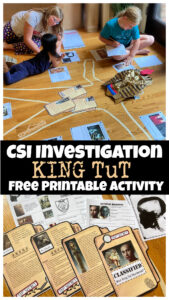 If you are looking for a fun way to explore history with kids, specificallyAncient Egypt for kids, you are going to love this fun, CSI style investigation into King Tut's early demise. This funking tut for kids activity includes lots ofegyptian printables to learn about the mystery of the 18-year-old pharoah's death. SImply print theking tut printables and you are ready to play and learn with first grade, 2nd grade, 3rd grade, 4th grade, 5th grade, 6th grade, 7th grade, 8th grad,e 9th grade, 10th grade, 11th grade, and 12 graders too!