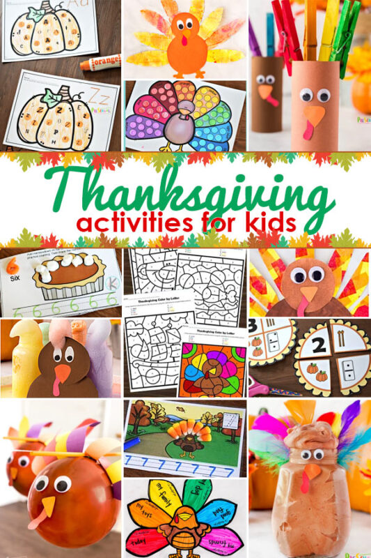 Get ready for an EPIC month of November with thesethanksgiving activities for kids including turkey crafts, science, worksheets, and more!