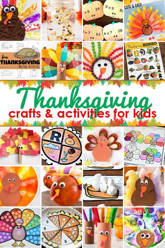 Get ready for an EPIC month of November with thesethanksgiving activities for kids! We've included cutethanksgiving crafts plus lots of cleverturkey science,free printablethanksgiving worksheets, yummy recipes, and so many more ideas to have a fun month crafting, learning, and playing with your toddler, preschool, pre-k, kindergarten, first grade, 2nd grade, 3rd grade, 4th grade, 5th grade, and 6th graders too!