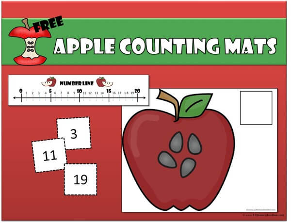 Apple counting mats for preschool and kindergarten age kids