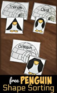 penguin shape matching game for winter