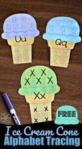ice cream cone letter tracing