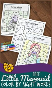 ariel color by sight words