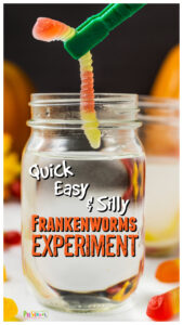 You've probably heard of thedancing raisins science project, well seeing as those it's October and Halloween is just around the corner I decided to make a more relevant theme. Thisfrankenworms experimentdemonstrates the same chemical reaction with baking soda and vinegar, but with fun halloween activities. Thishalloween science experimentis perfect for all ages from toddler, preschool, pre-k, kindergarten, first grade, 2nd grade, 3rd grade, and up.