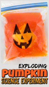 This outrageously FUNExploding Pumpkin is a funhalloween science experiment for kids of all ages from toddler, preschool, pre-k, kindergarten, first grade, and 2nd grade students. Thispumpkin activity is super simple to try using common materials you already have in your kitchen! Use this halloween activities to teach kids a little chemistry with this baking soda and vinegar experimentas part of yourpumpkin theme orhalloween theme in October.