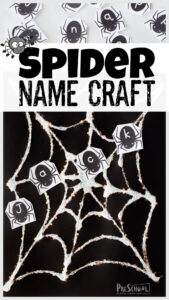 This super cutename craft is perfect for October! Simply print thespider printable pdf to make thisname craft for preschoolers, toddlers, and kindergartners. Children will work on letter recogniton and learning their name as they make thespider craftand add in all the spider letters of their name. This is such a funhalloween activity!