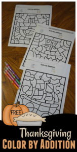 Thanksgiving Color by Addition worksheets