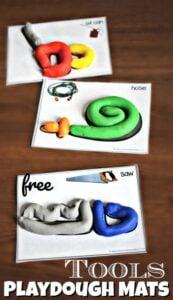tool playdough mats